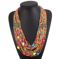 China Fashion Multilayer Statement Necklace Casual round beads Long Beads Necklace for Women on sale