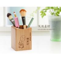 China Laser Graphic Mini Wooden Desktop Pen Holder Stand 75 X 73 X 98mm Artistic Wood Crafts wholesale