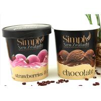 China PE Coated Personalize Paper Frozen Yogurt Cups With Paper Lids And Spoon wholesale