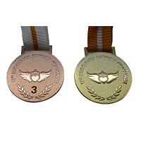 China Raised Logo Metal Award Medals Exquisitely Designed With Printed Lanyard wholesale