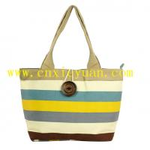 China Large Capacity Chromatic Stripe Shoulder Bag Handbag Shopping Tote Bag wholesale
