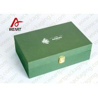 China Green Paper Jewelry Gift Boxes , Custom Embossed Personalized Boxes For Business wholesale