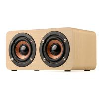 China Dual-horn Wooden Bluetooth Wireless Portable Speaker With Bass Music Sound, Intelligent Hands-free Calls on sale