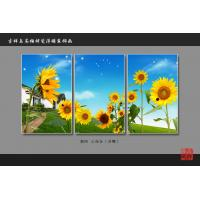 China Heat Resistant Faux Tile Wall Panelsembossed Triptych Art Painting Sunflower wholesale