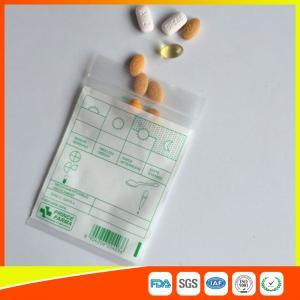 China Tablet Drug Packaging Ziplock Pill Bags , Medicine Plastic Bag With Zip Seal wholesale