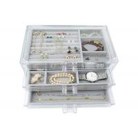 China Large Capacity Clear Jewelry Display Acrylic Jewelry Boxes With Drawers Save Space wholesale