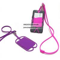 China Promotional Silicone Lanyard Smart Wallet,Silicone phone case with business card holder wholesale