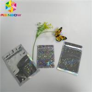China Glitter Flash Star Hologram Mylar Ziplock Bags Glossy Three Side Seal Facial Mask Packing wholesale