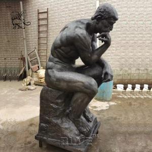China BLVE Bronze Thinker Statue Sitting Life Size Rodin Famous Art Metal Sculpture Garden Decoration wholesale