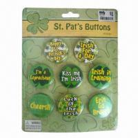 Buy cheap Button Badges with Blister Packing, Customized Designs are Accepted, Ideal for Promotional Purposes from wholesalers