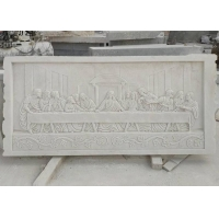China Marble Last Dinner Relief 3D Stone Last Supper Wall Sculpture Religious Decorative wholesale