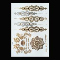 China Black Color Metallic Tattoo Stickers , Shimmer Metallic Jewelry Tattoos wholesale