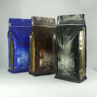 China Flat Bottom Matte Finish Aluminium Foil Pouch , Silver Tin Tie Coffee Packaging Bag wholesale