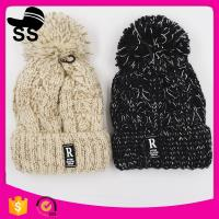 China 2017 top women 20*24+5cm 109g fashion cheap knitted pom pom clip flower beanie wholesale winter knitting hats wholesale