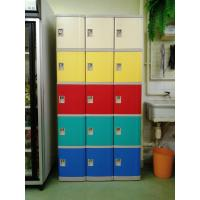 China Safety / Ventilation Plastic School Lockers Red Door Cabinet Gray 2 Tier Lockers wholesale