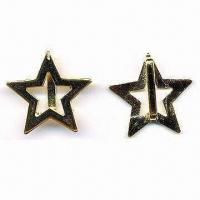 China Fashionable Star-shaped Garment Buckle, Made of Zinc-alloy, with Single Bar at Back wholesale