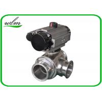 China Clamped Sanitary 3 Way Ball Valve / Stainless Steel Pneumatic Ball Valves on sale