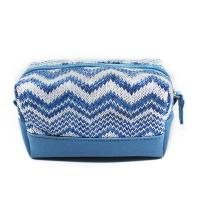 China Custom Blue Women Jute Leather Zipper Cosmetic Bags With Compartments wholesale