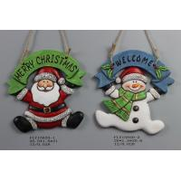 China Ceramic Christmas Snowman Pendant Gift With Merry Christmas And Welcome Wording wholesale