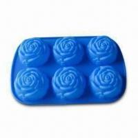 China Rose Shape Ice Cube Tray, Comes in Blue, Made of 100% Silicone, arious Shapes are Available wholesale