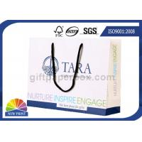 China Fancy Personalized Printing White Paper Bags with Long Cotton String Handle on sale