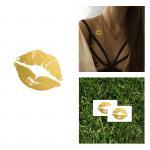 Long Lasting Girls Gold Foil Tattoo , Kiss Lips Temporary Tattoo Sticker