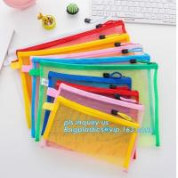 China Office Stationery Mesh Bags With Slider Zipper, expanding file/folder/File cover/documents pouch carry bag wholesale
