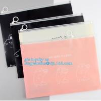 towel slider cosmetic bag, Slider Zip Poly Bag, office file bag with zipper/document file pockect, clear pvc zipper bag/