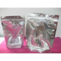 China Zipper Top PET / PE Cosmetic Packaging Bag Recyclable With Clear Front wholesale
