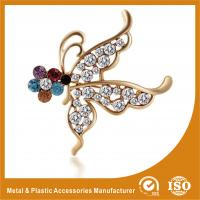 China Customized Handmade Metal Brooches Crystal Butterfly Brooches Jewellery wholesale