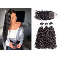 China 100% Human Hair 3 Bundles With Water Wave Closure Unprocessed Brazilian Hair wholesale
