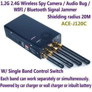 China 1.2G 2.4G Wireless Spy Camera Audio Bug WIFI Bluetooth Signal Jammer Blocker Single Switch wholesale