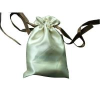 China Deux Beige Shing Satin Ribbon Drawstrings Bag, Fabric Carrier Bags 2 Side Printing wholesale