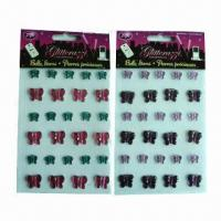 China Rhinestone/Crystal Stickers with Eco-friendly Material, Available in Various Sizes and Designs wholesale