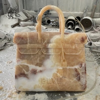 China Famous Brand Bag Marble Sculpture Home Decor Sunset Red Natural Stone Hand Carved wholesale
