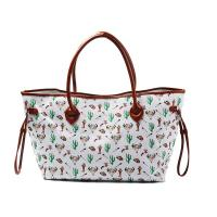 China Womens Printed Large Canvas And Leather Tote Bags With Compartments wholesale