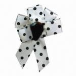 China Bow Brooch, Made of Polka Dots Ribbon, with Acrylic Bead at the Center wholesale