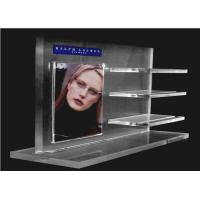 China Recycled Acrylic Cosmetic Display Floor Stand Transparent With Poster Holder wholesale