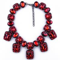 China Fashion women chokers chunky statement five colors gemstone necklace rhinestone bead wholesale