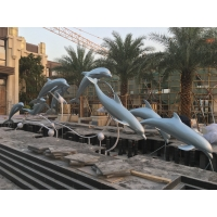 China Sky Blue Large Metal Sculptures Stainless Steel Group Metal Dolphin Wall Hanging wholesale