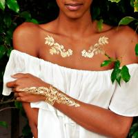 China henna tattoo sticker, metallic jewelry tattoo, sexy gold temporary tattoo wholesale