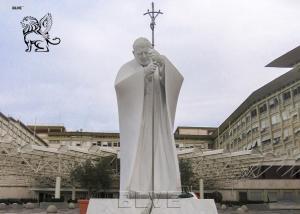 China BLVE St John Paul II Marble Statue Life Size Roman Catholic Religious Pope Sculpture wholesale