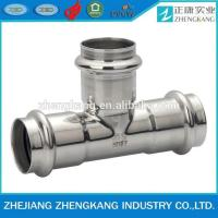 China Equal Tee Type Stainless Steel Press Fittings Durable Groove Connection wholesale