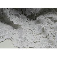 Quality White Water Woluble French Polyester Guipure Lace Fabric With 3D Flower Design for sale