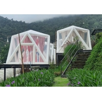 China Outdoor Portable Luxury Hotel Triangle Transparent PVC Inflatable Polygon Star Lawn Tent Bubble Camping Tent wholesale