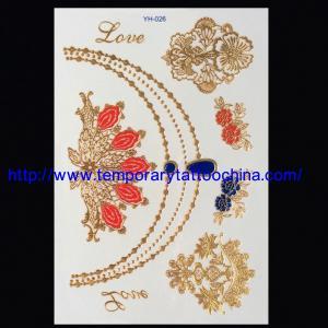 China 3D temporary tattoo sticker gold foil tattoo on sale