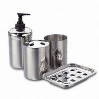 China Stainless Steel Bathroom Set of Liquid Soap DIspenser, Tumbler, Toothbrush Holder and Soap Dish wholesale