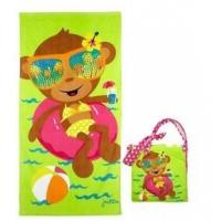 China Kids Cotton Beach Towels Accessories , Yellow Beach Bag With Winnie The Pooh Figure wholesale