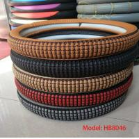 China cheap price good quality pu brown M size car steering wheel cover wholesale