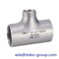 """China seamless Stainless Steel Tee , single slit pipe wall thickness 1 / 2 """" NPS Sch5S to 24""""OD x30mm wholesale"""